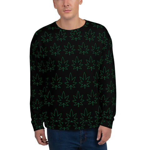 USMJ Cannabis Leaf Pattern Sweatshirt
