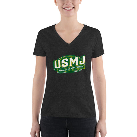 USMJ Women's Fashion Deep V-neck Tee