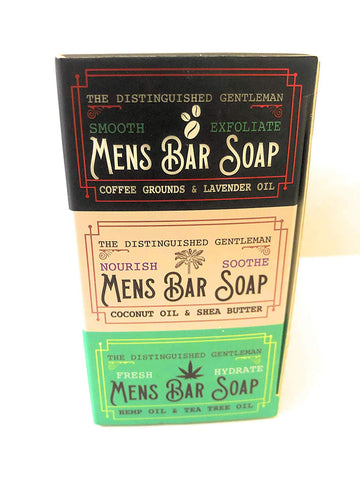 The Distinguished Gentleman Mens Bar Soap Body Bar Trio Pack