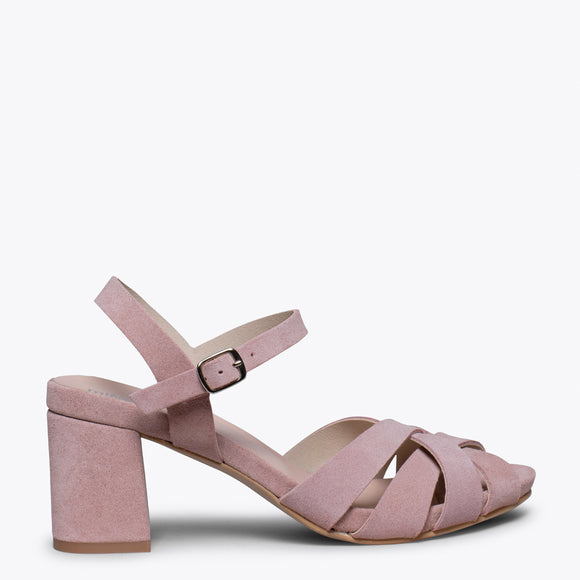 COCKTAIL – PINK LEATHER STRAP MID HEEL SANDAL