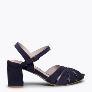 COCKTAIL – BLUE LEATHER STRAP MID HEEL SANDAL