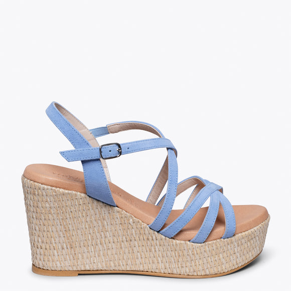 MYKONOS - LIGHT BLUE STRAP RAFFIA WEDGE SANDAL
