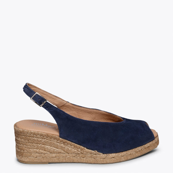 MOJACAR – NAVY PEEP-TOE WEDGE ESPADRILLE