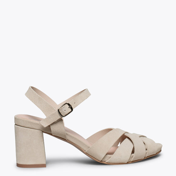 COCKTAIL – BEIGE LEATHER STRAP MID HEEL SANDAL