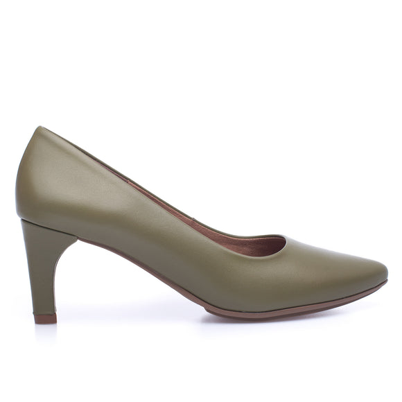STILETTO - OLIVE slim mid heel