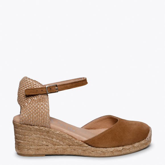 ALTEA - BROWN jute espadrille wedge heel