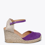 NERJA - PURPLE jute espadrille wedge heel