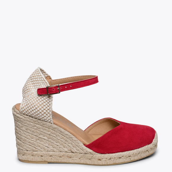 NERJA - RED jute espadrille wedge heel