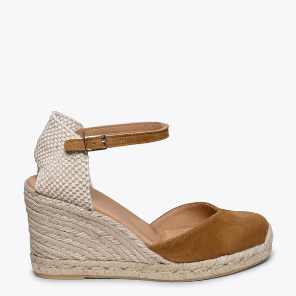NERJA - BROWN jute espadrille wedge heel