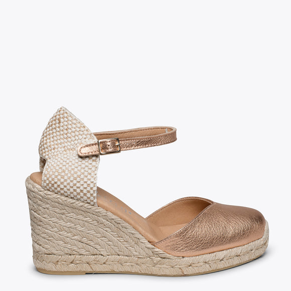 NERJA - GOLD ROSE jute espadrille wedge heel