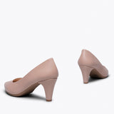 STILETTO - NUDE SLIM MID HEEL
