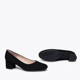 URBAN ROUND - BLACK LOW HEEL