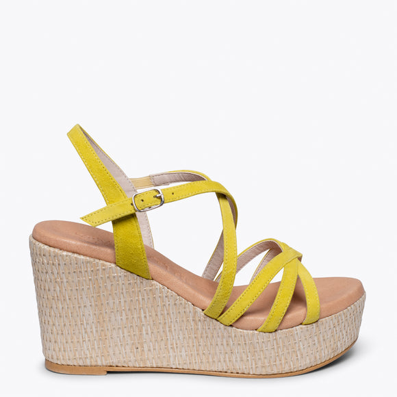 MYKONOS - YELLOW STRAP RAFFIA WEDGE SANDAL