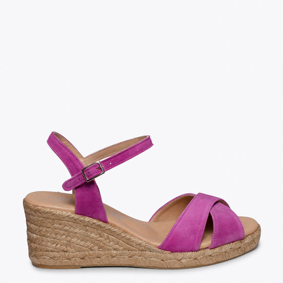 CALPE – HOT PINK JUTE STRAP SANDAL WEDGE