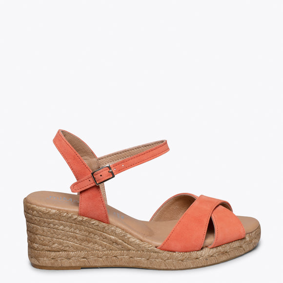CALPE – ORANGE JUTE STRAP SANDAL WEDGE