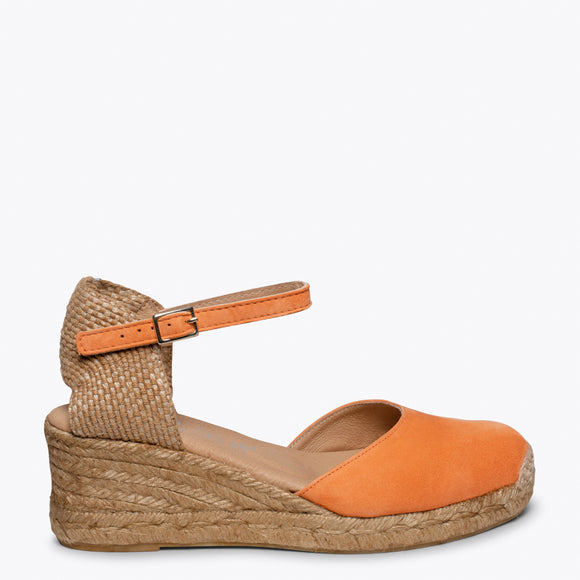 ALTEA - ORANGE jute espadrille wedge heel
