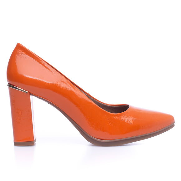 URBAN PATENT- ORANGE patent leather high heel