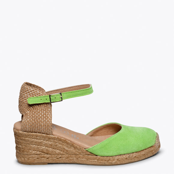 ALTEA - GREEN jute espadrille wedge heel