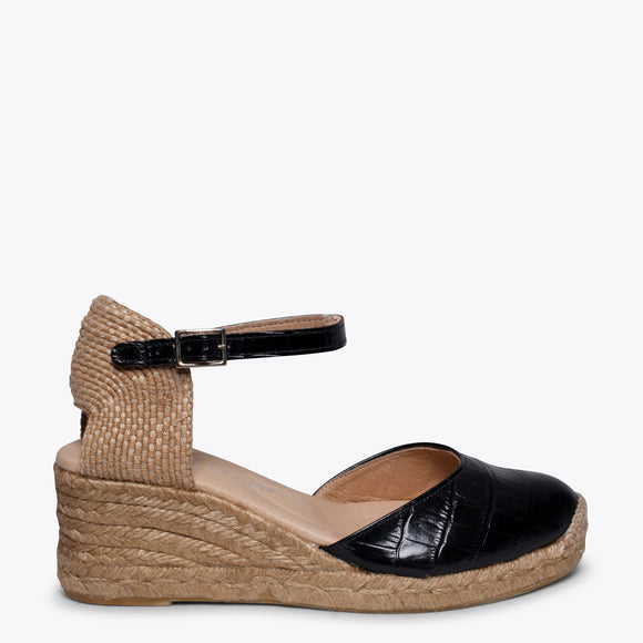 ALTEA - BLACK COCO jute espadrille wedge heel