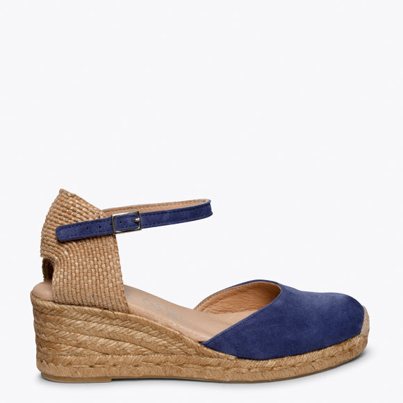 ALTEA - NAVY jute espadrille wedge heel