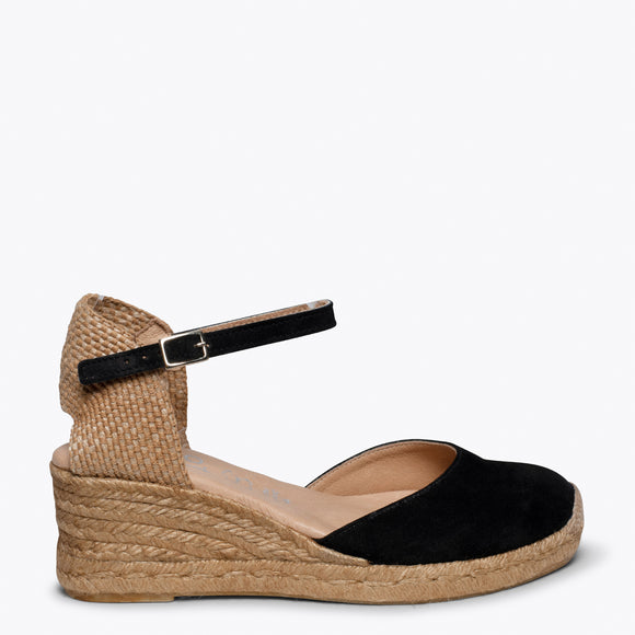 ALTEA - BLACK jute espadrille wedge heel