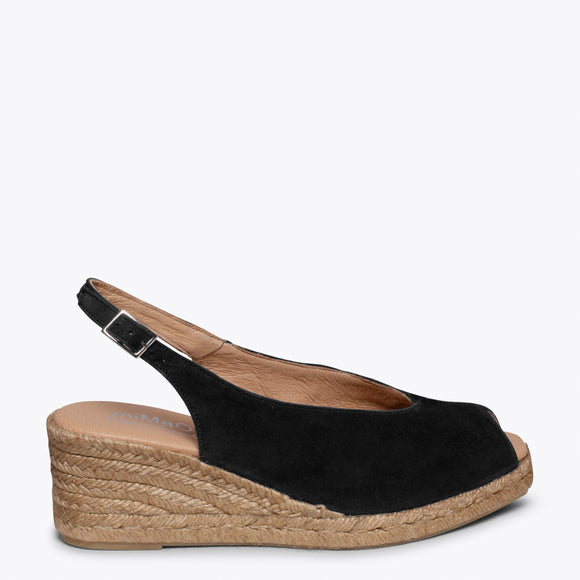 MOJACAR – BLACK PEEP-TOE WEDGE ESPADRILLE