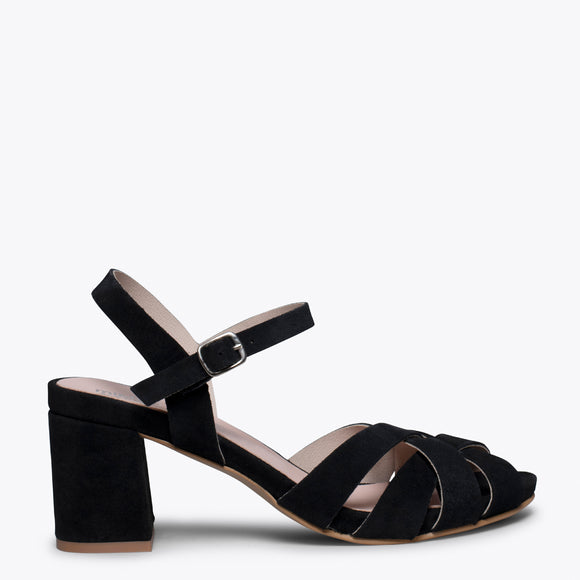COCKTAIL – BLACK LEATHER STRAP MID HEEL SANDAL