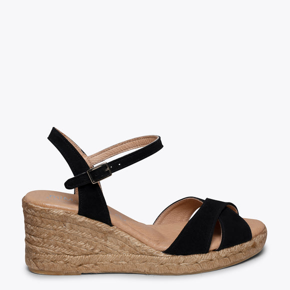 CALPE – BLACK JUTE STRAP SANDAL WEDGE