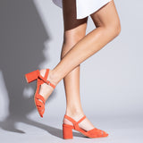 COCKTAIL – ORANGE LEATHER STRAP MID HEEL SANDAL