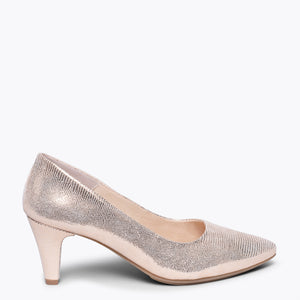 URBAN DIAMOND - ROSE GOLD SLIM MID HEEL