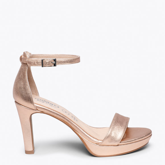 FIESTA - GOLD ROSE HIGH HEEL SANDAL
