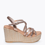 MYKONOS - GOLD ROSE STRAP RAFFIA WEDGE SANDAL