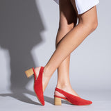 SLING-BACK - RED V-LINE MID HEEL