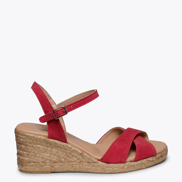 CALPE – RED JUTE STRAP SANDAL WEDGE