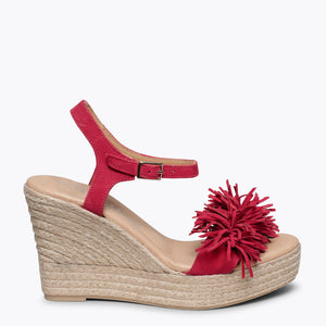 ZAHARA - RED FRINGE ESPADRILLE WEDGE HEEL