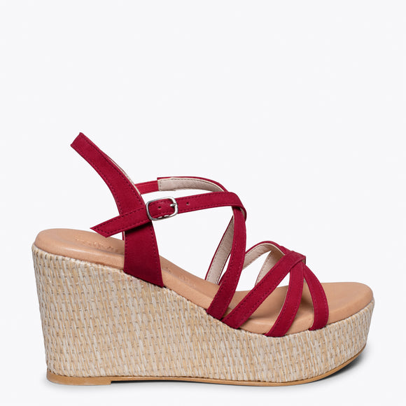 MYKONOS - RED STRAP RAFFIA WEDGE SANDAL