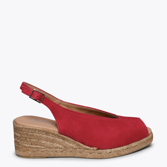 MOJACAR – RED PEEP-TOE WEDGE ESPADRILLE