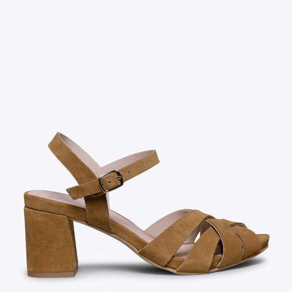 COCKTAIL – CAMEL LEATHER STRAP MID HEEL SANDAL