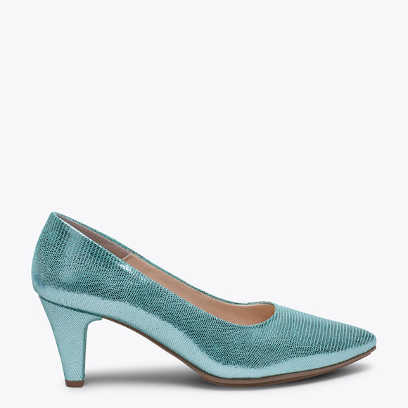 URBAN DIAMOND - GREEN SLIM MID HEEL