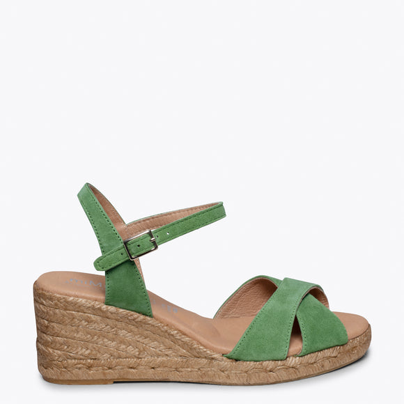 CALPE – GREEN JUTE STRAP SANDAL WEDGE