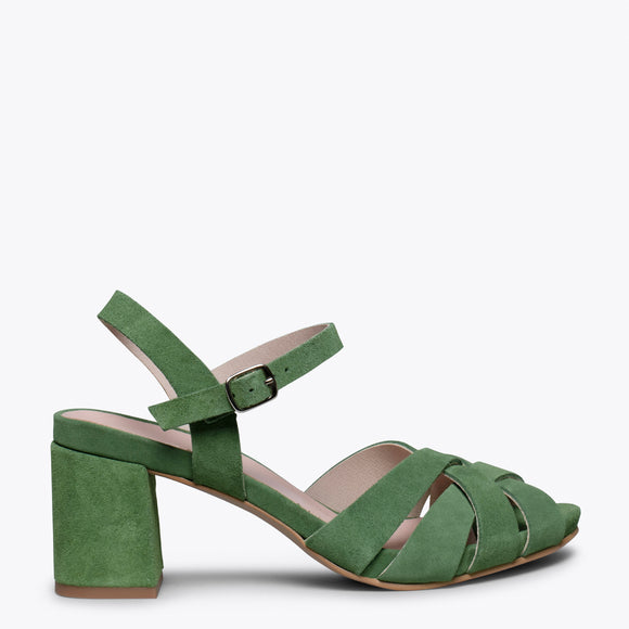 COCKTAIL – GREEN LEATHER STRAP MID HEEL SANDAL