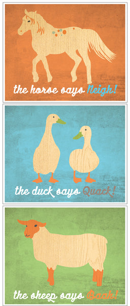 Print Pack Blue Neigh, Quack, Baah Blue