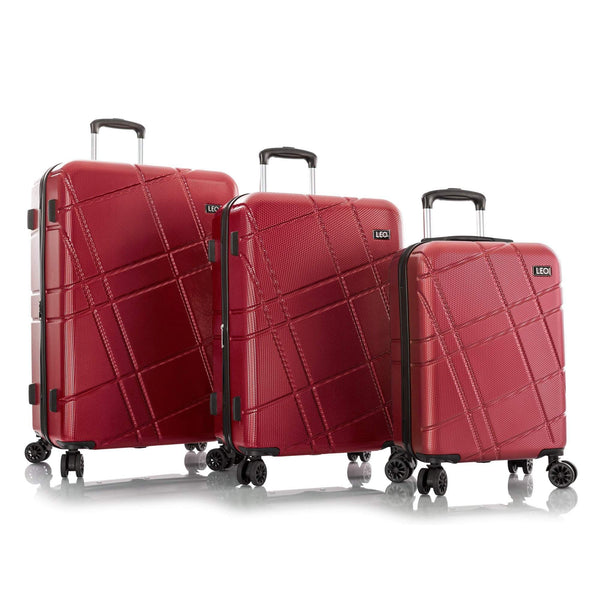 Leo By Heys Level Ensemble de 3 valises extensibles spinner - Rouge