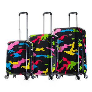 Mia Viaggi Pop Camo Ensemble de 3 valises extensibles Spinner