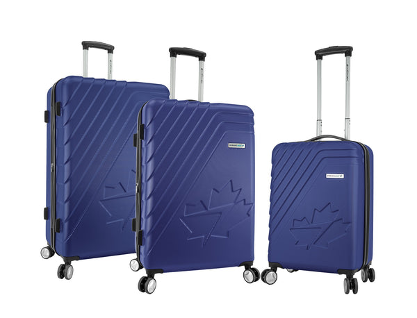 WestJet Saturn Ensemble de 3 valises rigides extensibles spinner - Bleu