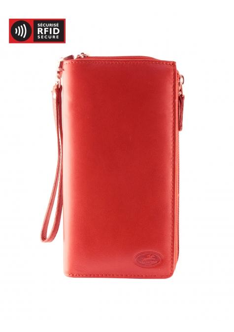 "Mancini MANCHESTER Portefeuille ""Clutch"" pour dames (RFID) - Rouge"