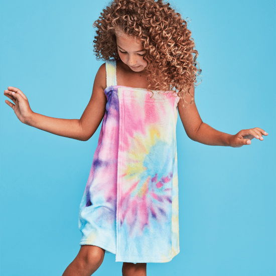 Kids Plush Spa Wrap - Pastel Tie Dye