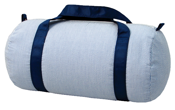 Mint Seersucker Medium Duffel Bag - Navy