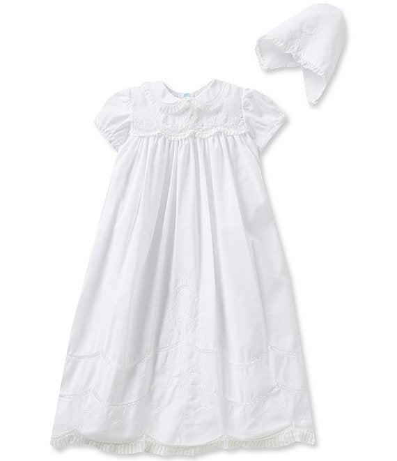 Feltman Brothers - Scalloped Yoke Christening Gown & Hat