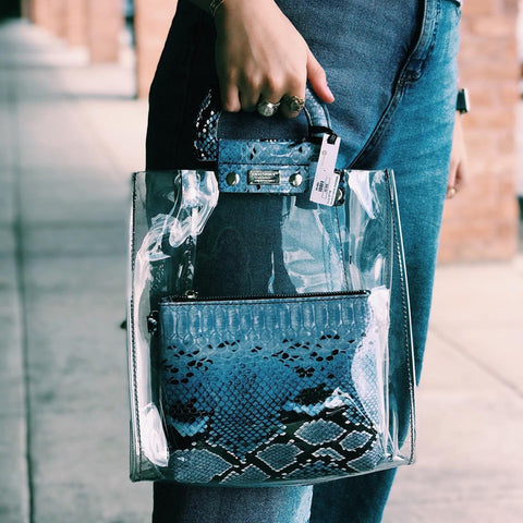 Clear Purse - Blue Python